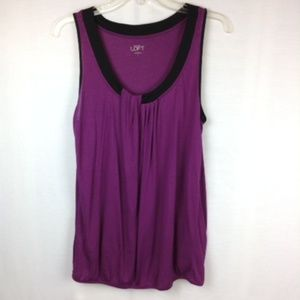 Loft Size S Tunic Blouse Top Plum/Black Sleeveless